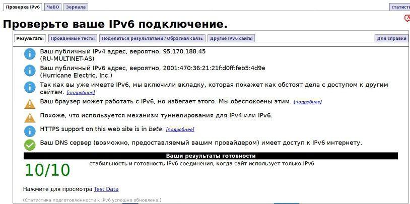 Результаты тестирования IPv6